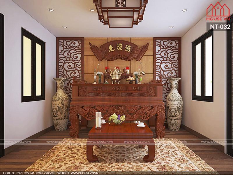 10 mẫu bày trí nội thất phòng thờ đẹp và hợp phong thủy cho nhà ống hiện nay