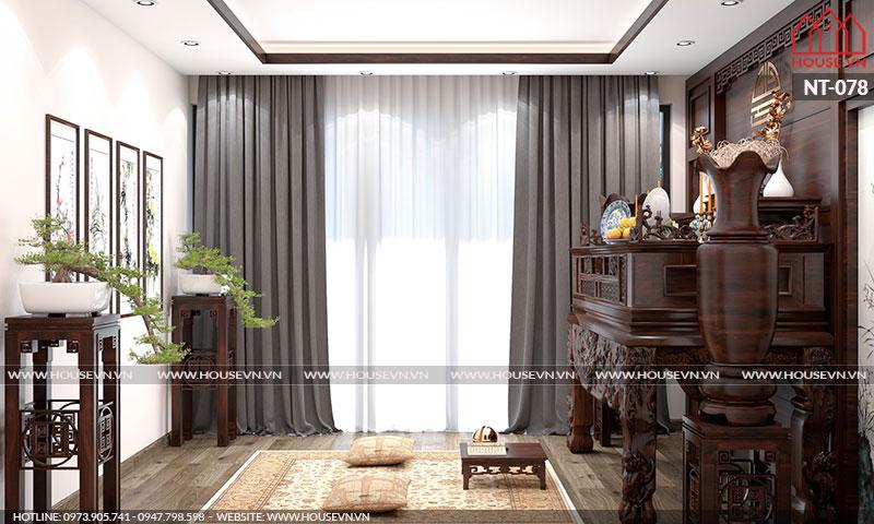 Mẫu nội thất phòng thờ được thiết kế theo phong cách cổ điển
