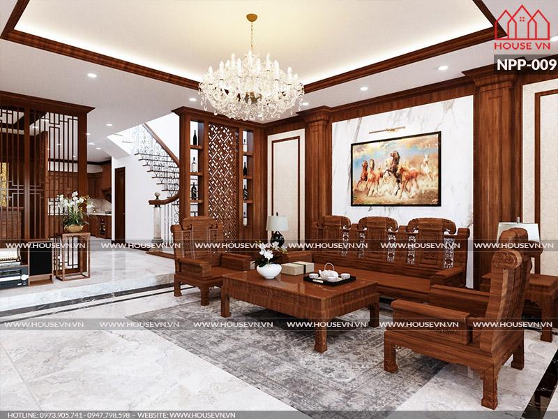 Mẫu thiết kế nội thất phòng khách đẹp cho nhà ống kiểu Pháp