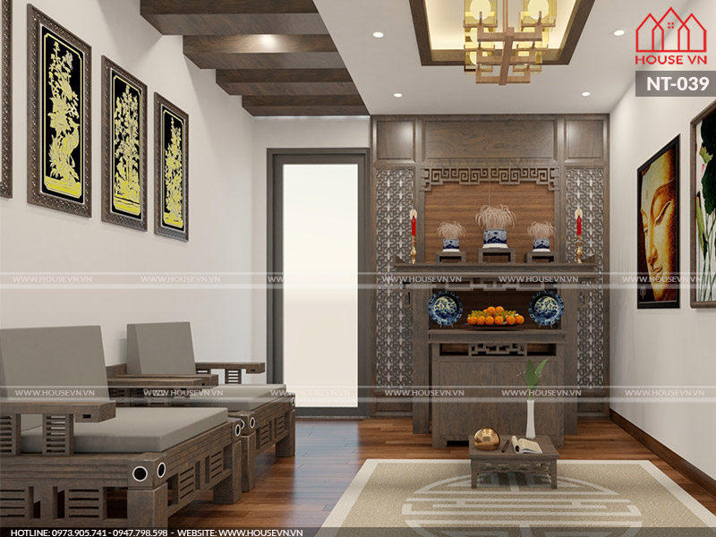 Mẫu thiết kế nội thất phòng thờ thu hút tài lộc