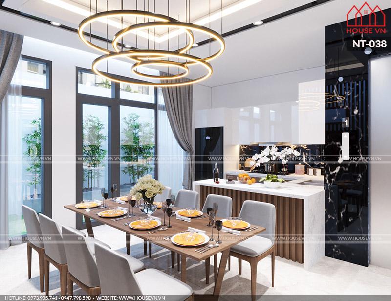 Thiết kế nội thất bếp ăn có bàn đảo đẹp sang trọng, đủ tiện nghi