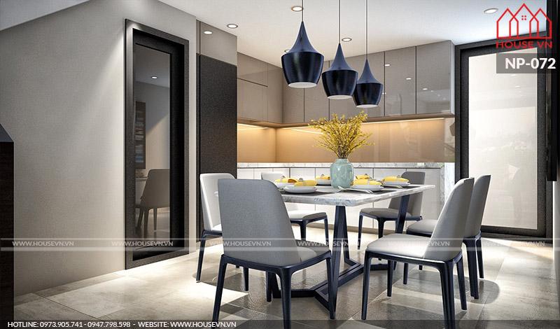 Phương án bày trí nội thất bếp ăn ngăn nắp, đầy đủ tiện nghi