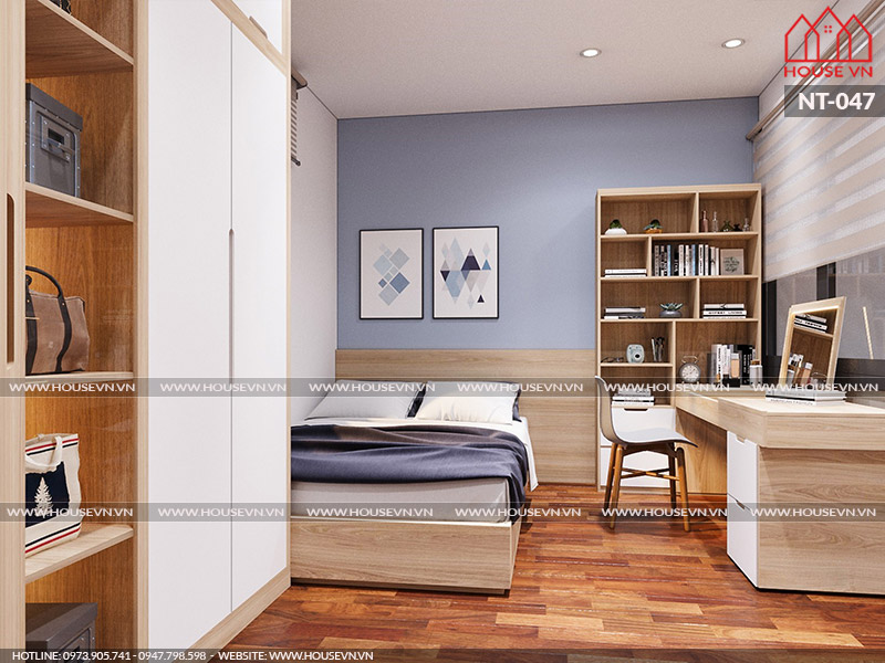 Mẫu thiết kế nội thất phòng ngủ con trai năng động, khỏe khoắn