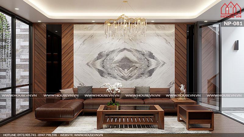 Phương án thiêt kế nội thất phòng khách đẹp sang trọng, ấn tượng
