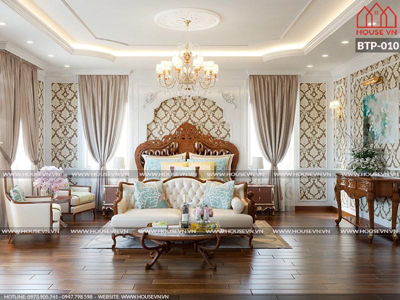 Mẫu thiết kế nội thất phòng ngủ đẹp dành cho biệt thự Pháp