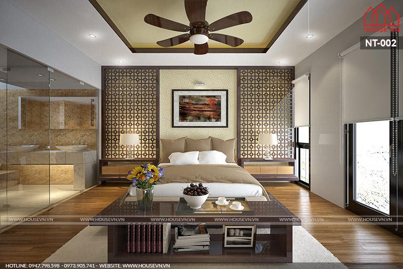 Nội thất phòng ngủ biệt thự kết hợp phòng tắm tiện ích và sang trọng
