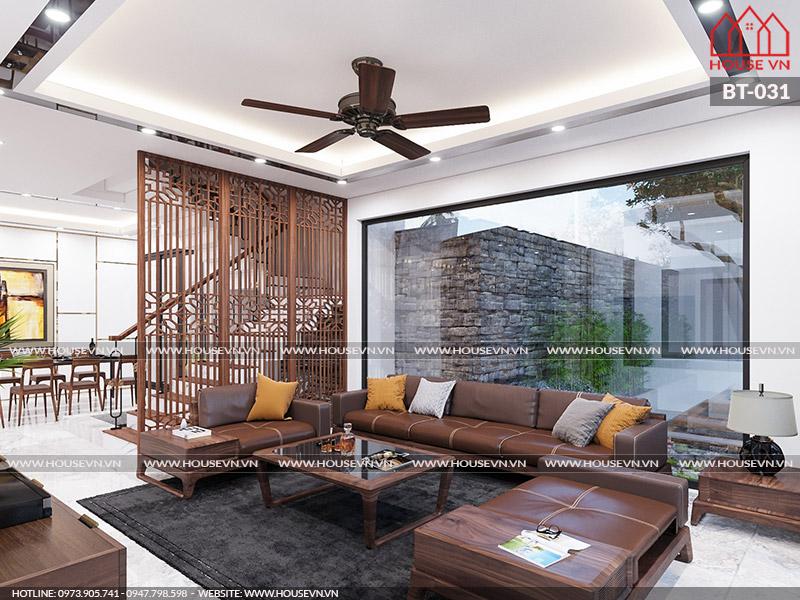 Ý tưởng thiết kế nội thất phòng khách biệt thự hiện đại đẹp đẳng cấp