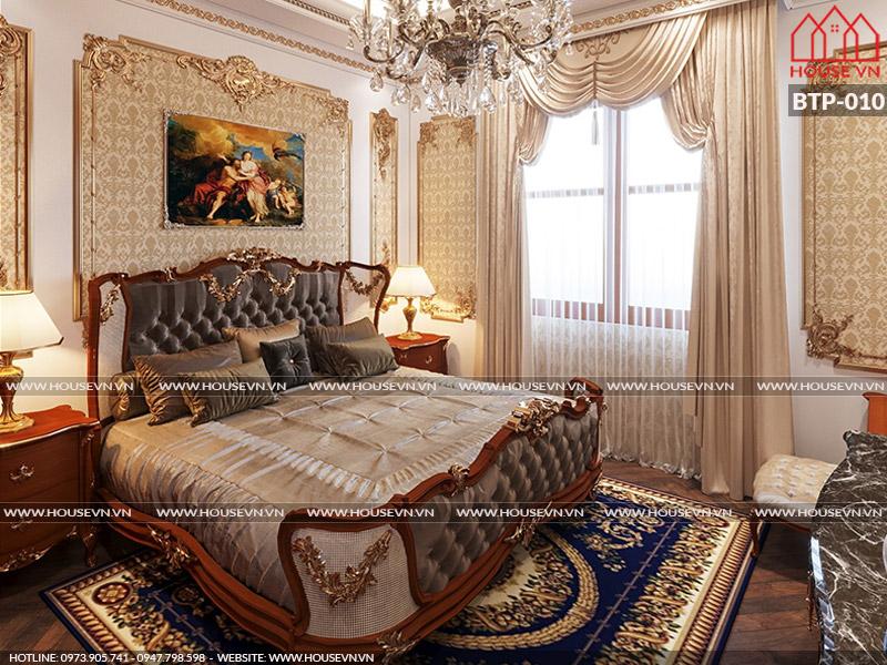 Mẫu nội thất phòng ngủ được thiết kế theo phong cách cổ điển, vương giả