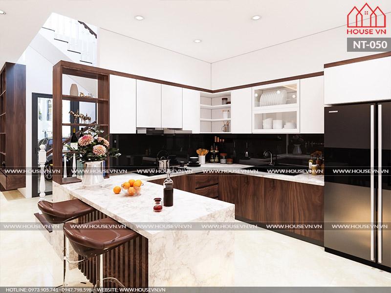 Thiết kế nội thất không gian bếp ăn tiện nghi, thông thoáng