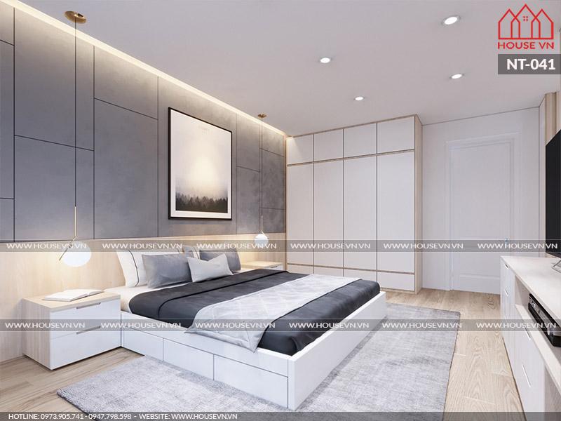 Mẫu thiết kế nội thất phòng ngủ hiện đại đẹp trang nhã, ấm cúng