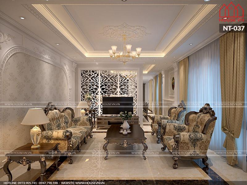 Mẫu thiết kế nội thất phòng khách cổ điển đẹp trang nhã, thanh lịch