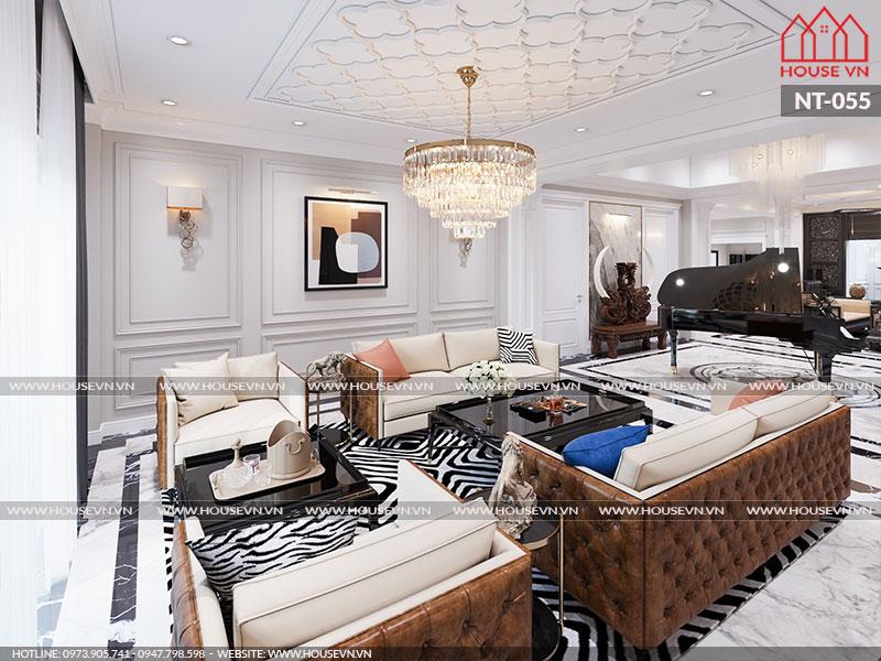 Mẫu nội thất phòng khách biệt thự thể hiện đẳng cấp chủ đầu tư