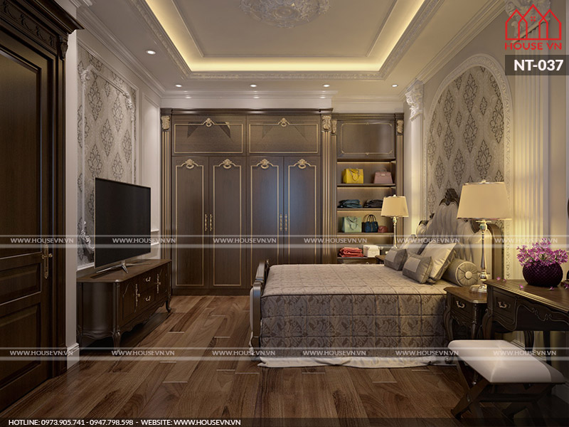 Mẫu nội thất phòng ngủ master theo phong cách tân cổ điển đẹp