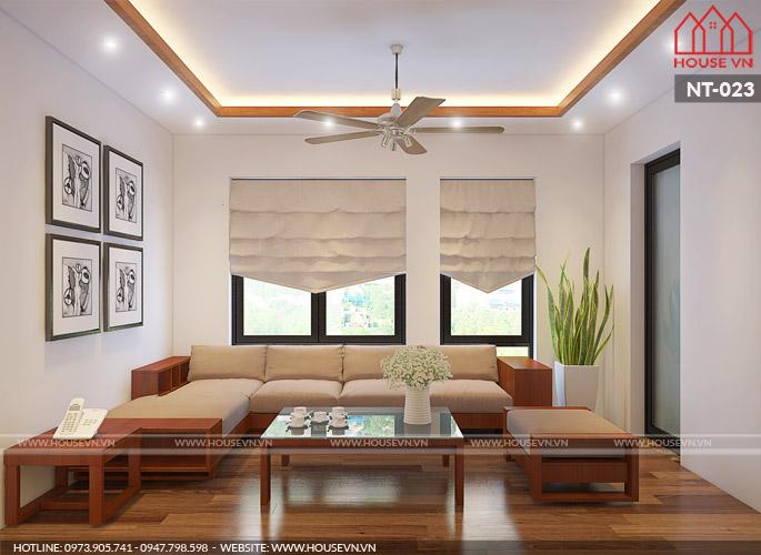Mẫu thiết kế nội thất phòng khách gọn gàng, hợp phong thủy