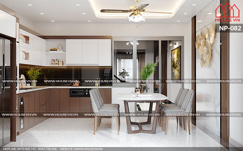 Phương án bày trí không gian phòng bếp đẹp, đầy đủ tiện nghi