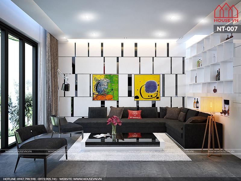Cách đơn giản tạo điểm nhấn trong thiết kế nội thất phòng khách nhà ống
