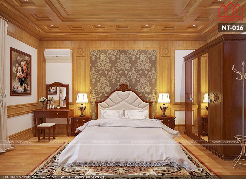 Bày trí nội thất phòng ngủ bằng gỗ tự nhiên đẹp được nhiều người yêu thích