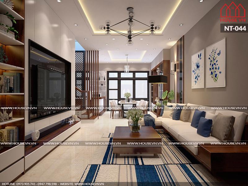 Ý tưởng thiết kế nội thất phòng khách không gian mở rộng thoáng, sang trọng, tiện nghi
