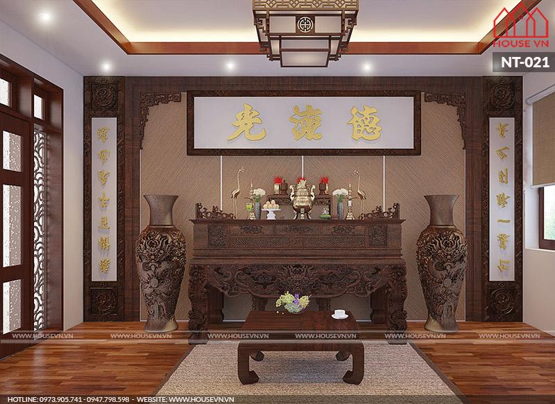 Những mẫu thiết kế nội thất phòng thờ chất liệu gỗ đẹp của Housevn