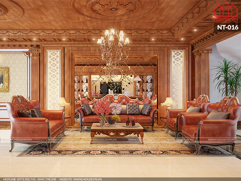 Thiết kế phòng khách sang trọng, đẳng cấp cho biệt thự phố