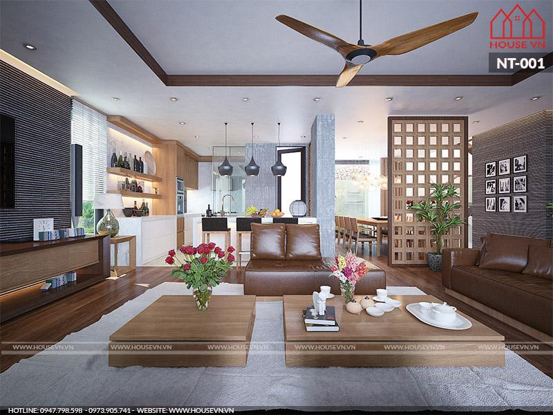 Thiết kế phòng khách và bếp liên thông sang trọng nhất
