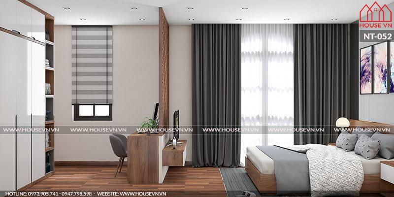 Mẫu thiết kế nội thất phòng ngủ master có phòng thay đồ tiện nghi, sang trọng