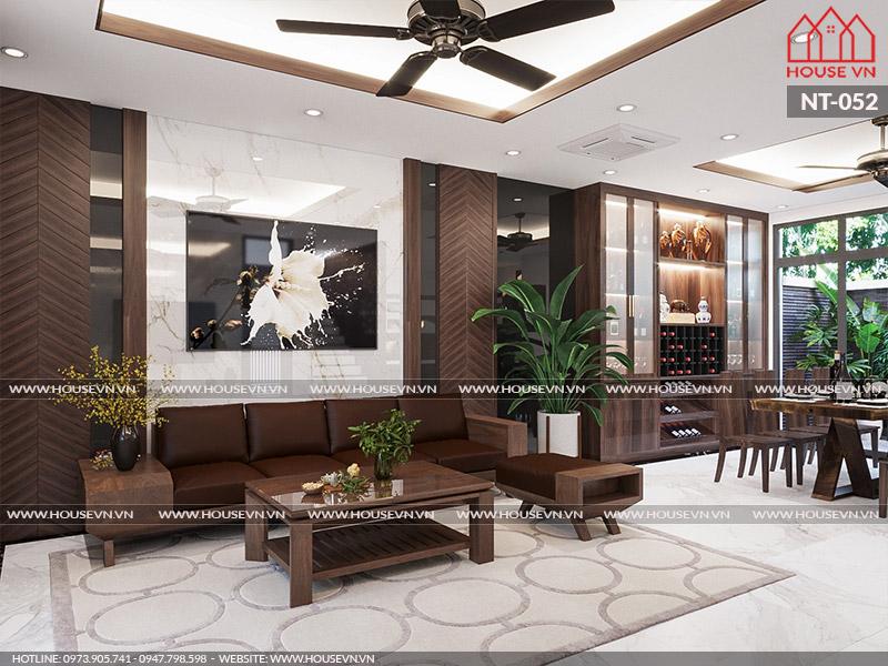 Thiết kế nội thất phòng khách biệt thự hiện đại tiện nghi sang trọng, ấn tượng