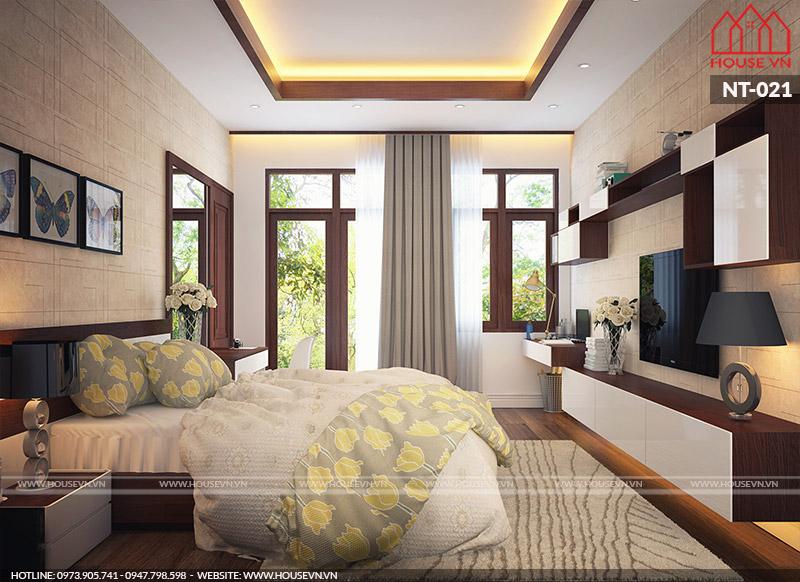 Mẫu nội thất phòng ngủ hiện đại ấm cúng cho nhà ống 3 tầng