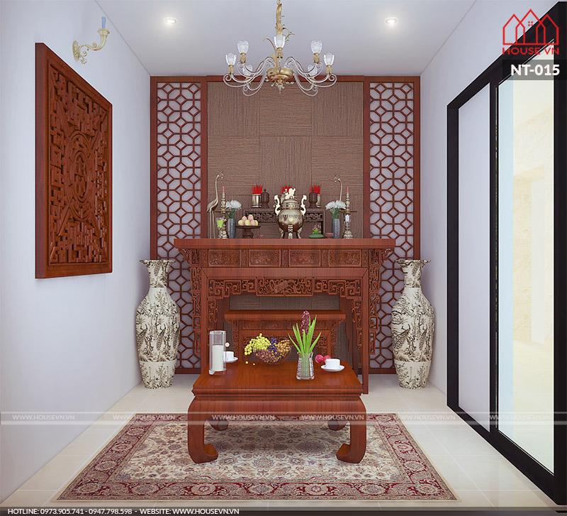 Mẫu thiết kế nội thất phòng thờ tôn nghiêm, ấn tượng cho nhà phố