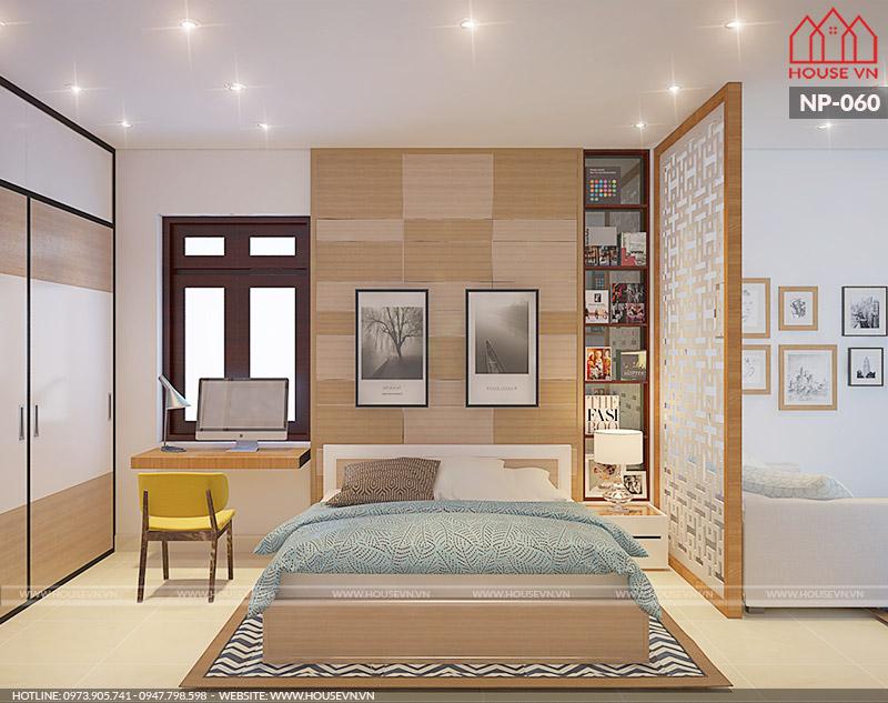 Không gian phòng ngủ hiện đại đơn giản mà tiện nghi cho hai người