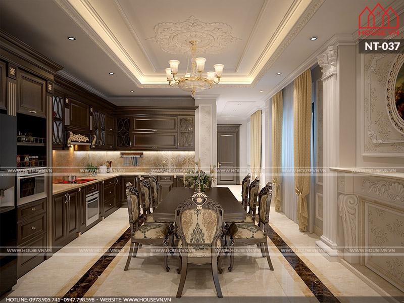 Phương án thiết kế nội thất không gian bếp ăn đầy đủ tiện nghi