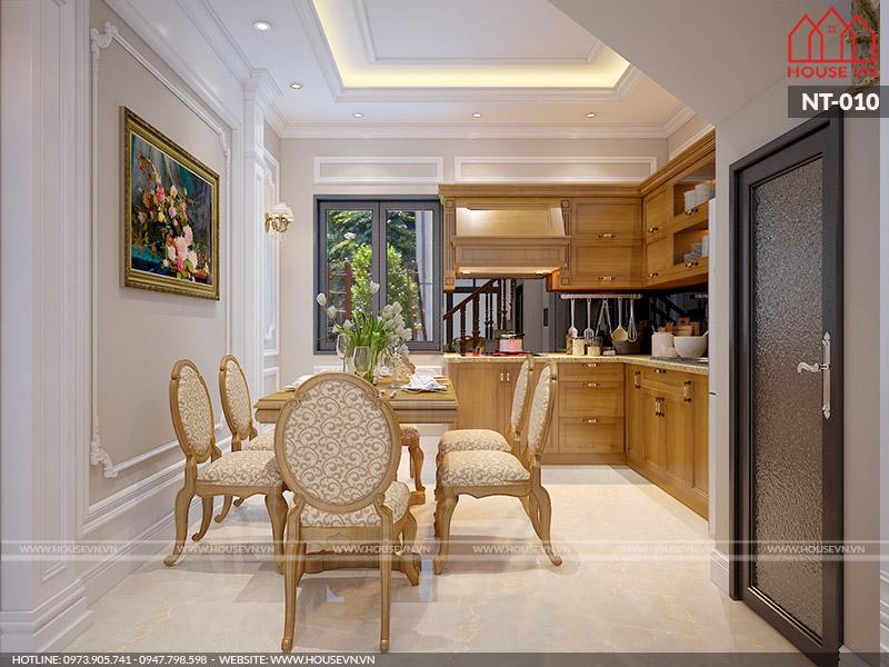 Mẫu nội thất phòng bếp cổ điển với tủ bếp cao cấp nhìn thôi đã thấy ưng