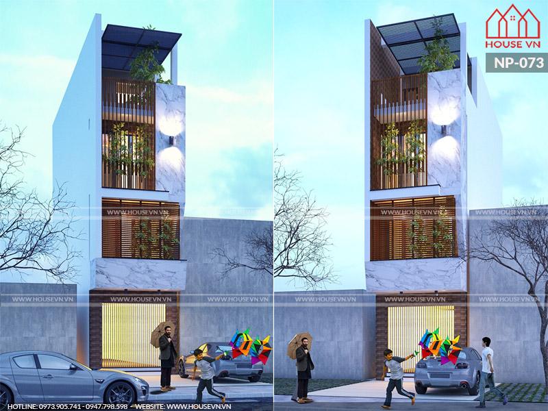 Mẫu nhà 4 tầng hiện đại diện tích 5mx16m