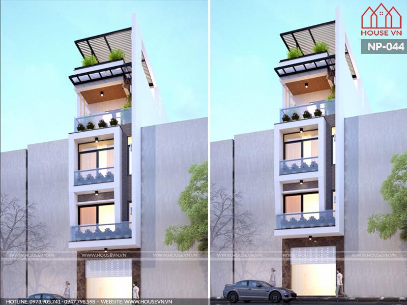 Độc đáo mẫu nhà lô phố 5 tầng sang trọng mặt tiền 5m