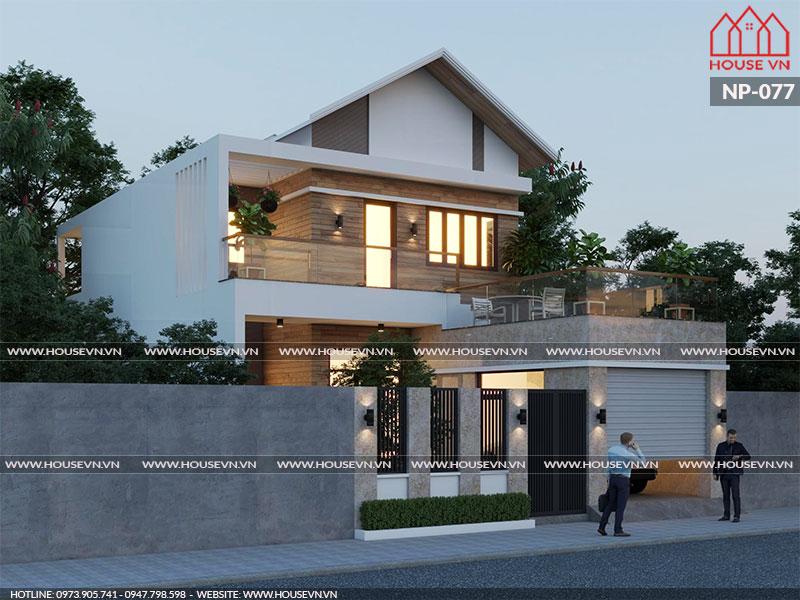 Thiết kế biệt thự 2 tầng kiến trúc hiện đại 200m2