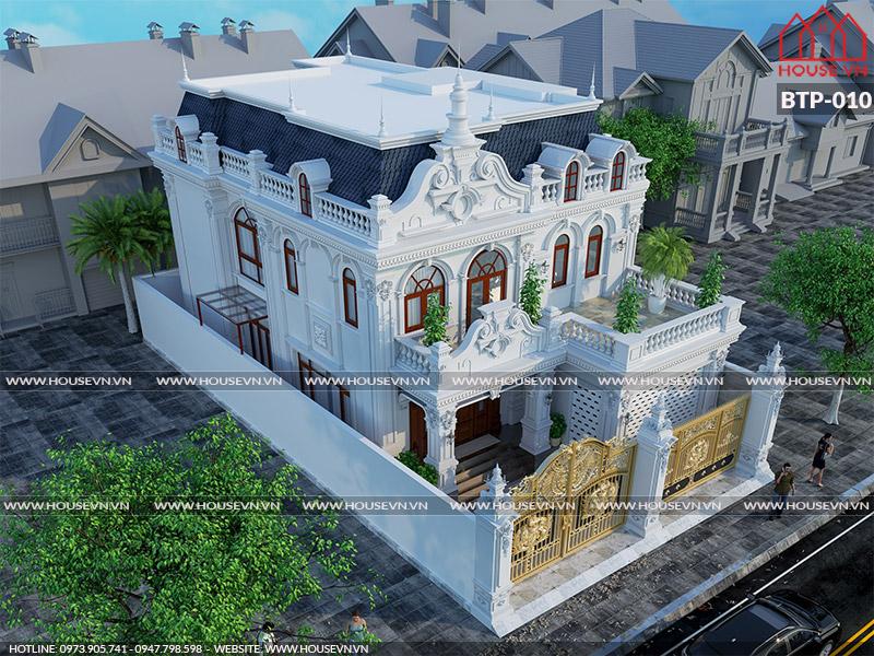 Bản vẽ mặt bằng mặt đứng mặt cắt biệt thự kiểu Pháp 2 tầng diện tích 250m2