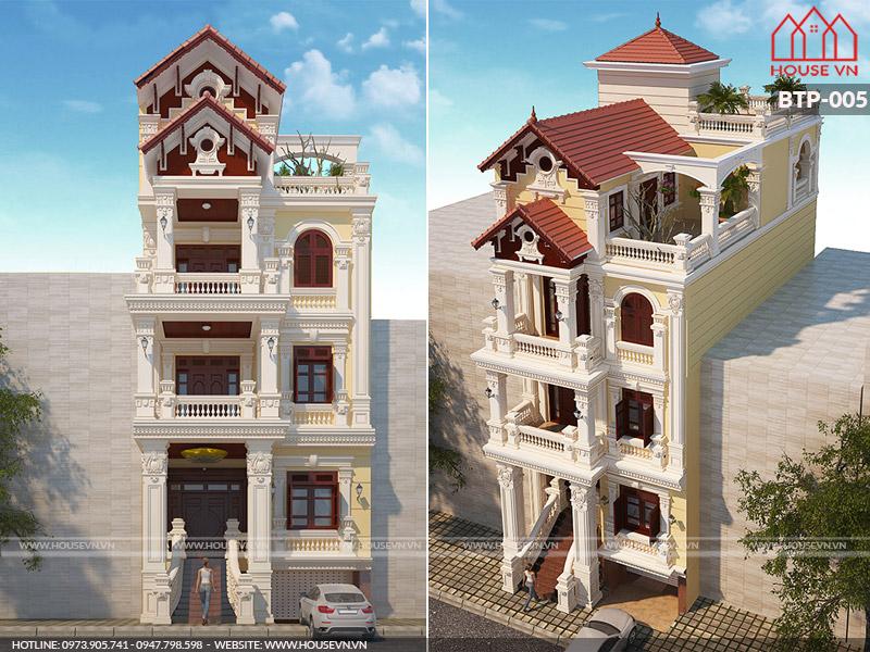 Mẫu thiết kế biệt thự Pháp 4 tầng mái ngói đẹp