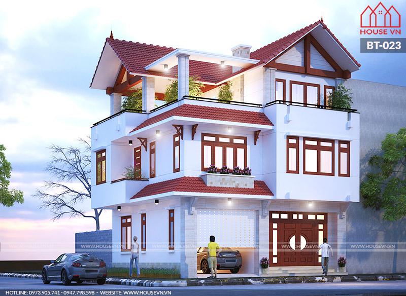 thiết kế kiến trúc biệt thự 3 tầng hiện đại mái ngói đẹp
