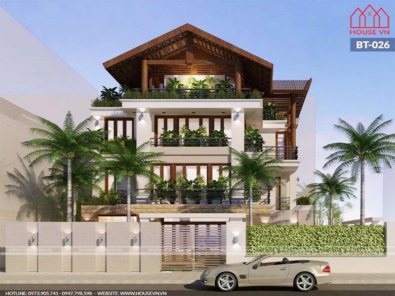 Thiết kế biệt thự vườn 4 tầng hiện đại đẹp