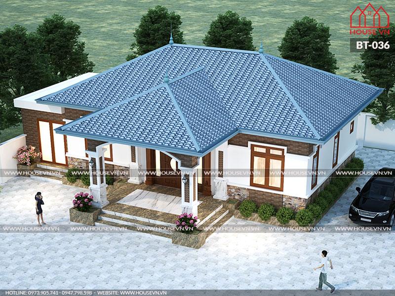 Thiết kế biệt thự 1 tầng diện tích 130m2 8mx16m