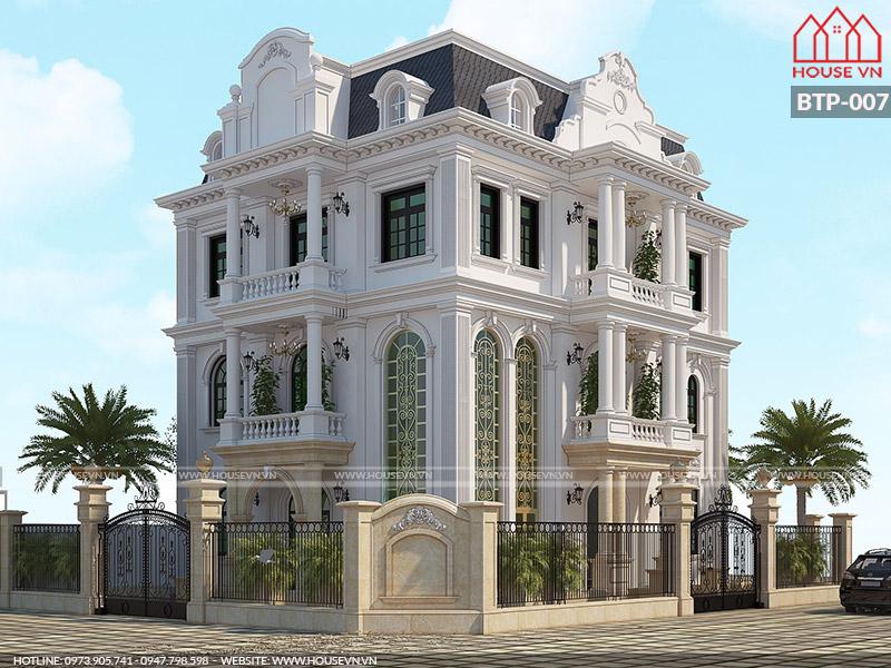 Khám phá mẫu thiết kế biệt thự tân cổ điển 3 tầng mặt tiền rộng