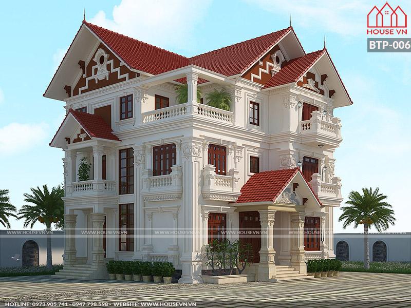Thiết kế biệt thự Pháp 3 tầng mái ngói đỏ đẹp