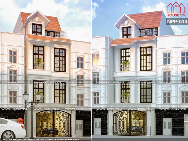 Thiết kế nhà đẹp 80m2 5mx16m phong cách kiểu Pháp