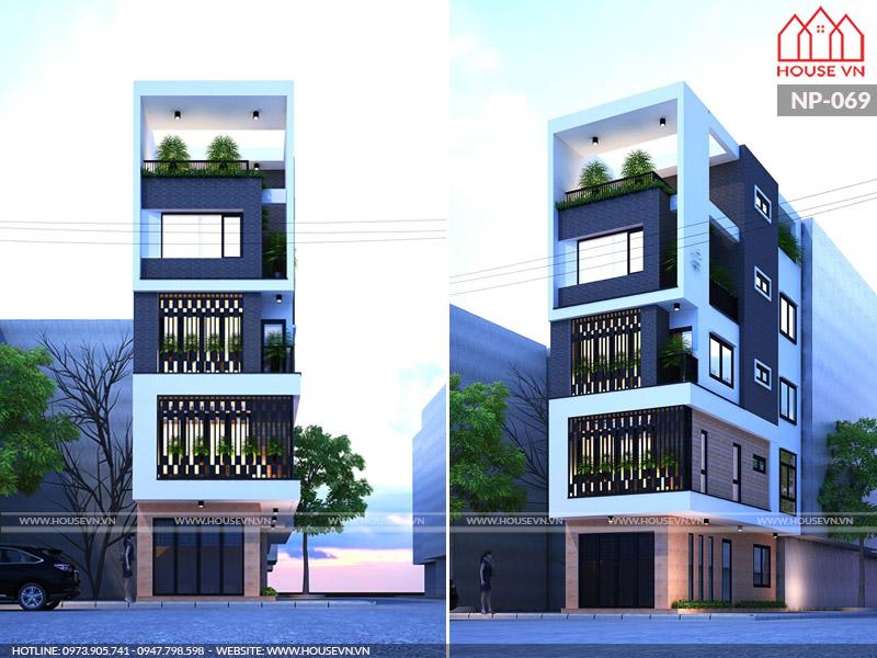 Ý tưởng thiết kế nhà ống hiện đại 5 tầng diện tích 4mx10m khang trang