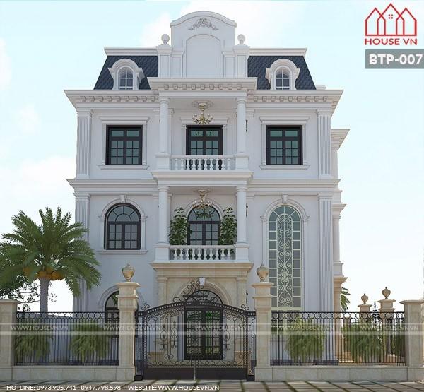 thiết kế kiến trúc biệt thự tân cổ điển 3 tầng