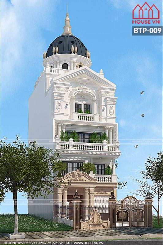 thiết kế kiến trúc biệt thự lâu đài mái vòm cổ điển cao cấp