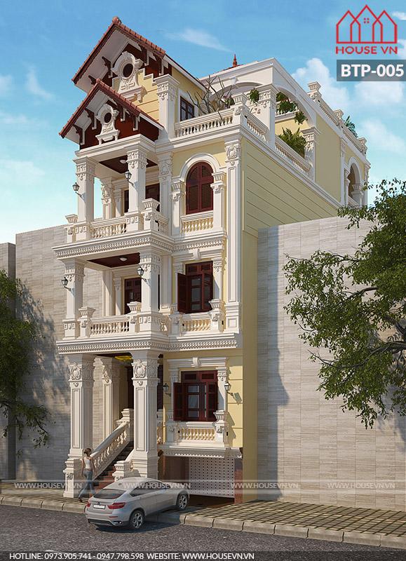 Cận cảnh kiến trúc mặt tiền biệt thự 4 tầng kiểu Pháp với hệ thống cột trụ vững chãi