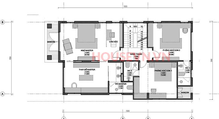 bản vẽ mặt bằng tầng 2 biệt thự hiện đại mái thái đẹp