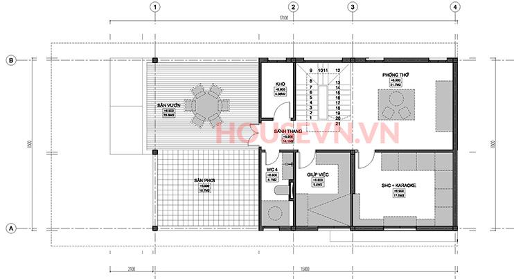 bản vẽ mặt bằng tầng 3 của biệt thự hiện đại 150m2