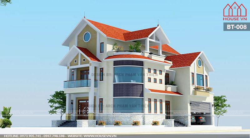 Toàn cảnh mẫu kiến trúc biệt thự mái thái trẻ trung và ấn tượng.